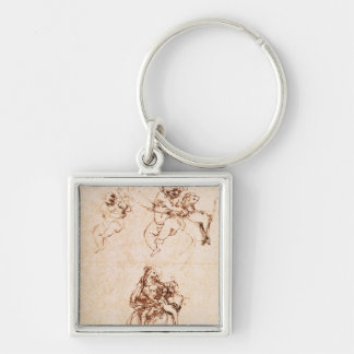 Studies for a Madonna with a Cat, c.1478-80 Silver-Colored Square Keychain