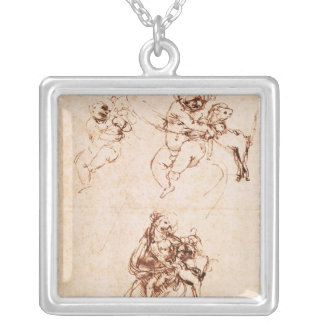Studies for a Madonna with a Cat, c.1478-80 Square Pendant Necklace