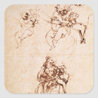 Studies for a Madonna with a Cat, c.1478-80 Square Sticker