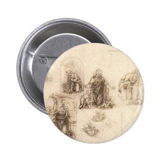Studies for a Nativity by Leonardo da Vinci Pinback Buttons