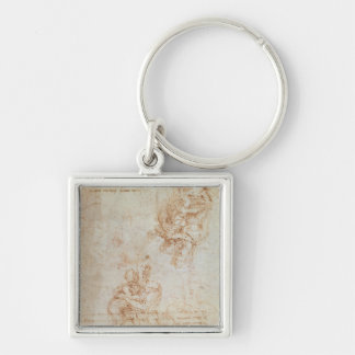 Studies of Madonna and Child Silver-Colored Square Keychain