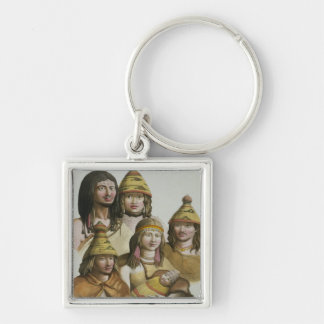 Studies of native Americans (colour litho) Keychain
