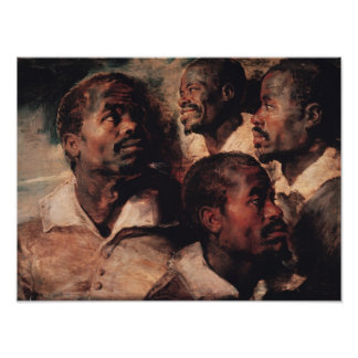 Studies of the Head of a Negro Poster