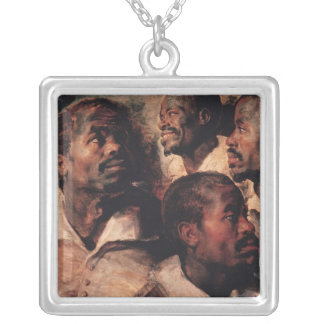 Studies of the Head of a Negro Silver Plated Necklace