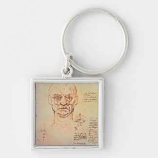Studies of the Proportions of the Face and Eye, 14 Silver-Colored Square Keychain
