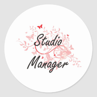Studio Manager Artistic Job Design with Butterflie Classic Round Sticker