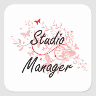 Studio Manager Artistic Job Design with Butterflie Square Sticker