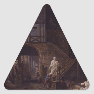 Studio of an Antiquities Restorer in Rome by Huber Triangle Sticker