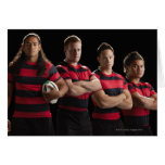 Studio portrait of male rugby team card