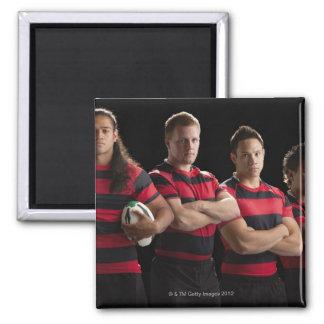 Studio portrait of male rugby team fridge magnets