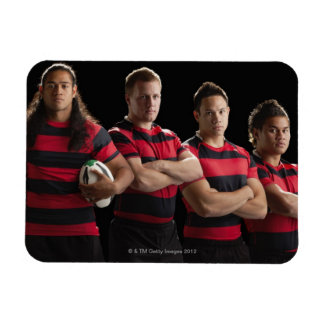 Studio portrait of male rugby team vinyl magnet