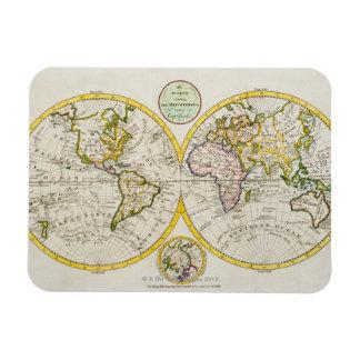 Studio shot of antique world map 2 rectangle magnet