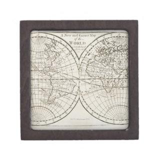 Studio shot of antique world map 3 premium keepsake box