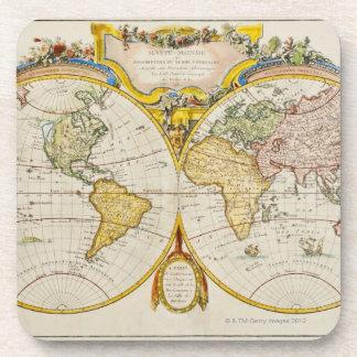 Studio shot of antique world map beverage coaster