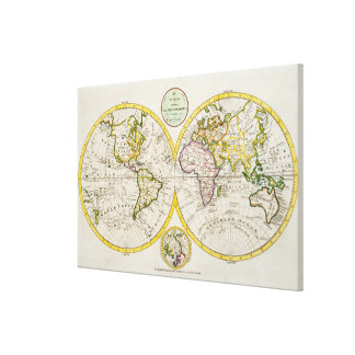 Studio shot of antique world map stretched canvas prints