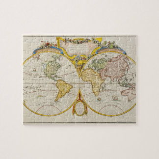 Studio shot of antique world map jigsaw puzzle
