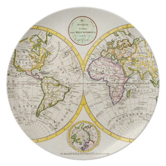 Studio shot of antique world map melamine plate