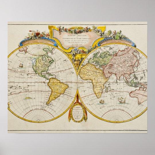 Studio shot of antique world map poster