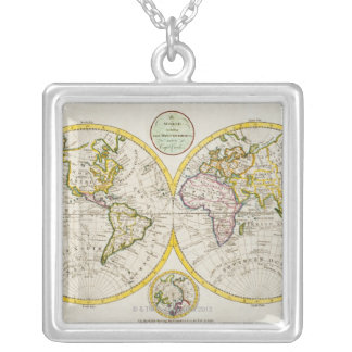 Studio shot of antique world map square pendant necklace