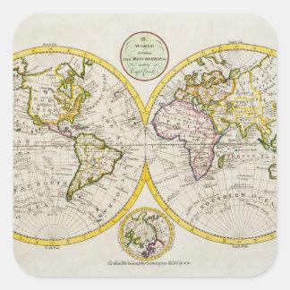 Studio shot of antique world map square sticker