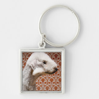 Studio shot of Bedlington Terrier Silver-Colored Square Keychain
