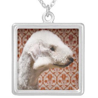 Studio shot of Bedlington Terrier Square Pendant Necklace