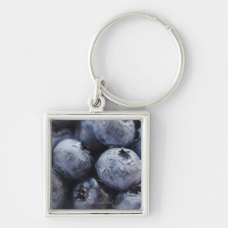 Studio shot of blueberries 3 Silver-Colored square keychain
