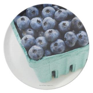 Studio shot of blueberries dinner plate