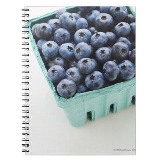 Studio shot of blueberries spiral note books