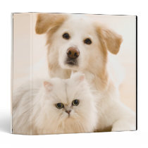 Studio shot of cat and dog 3 ring binder