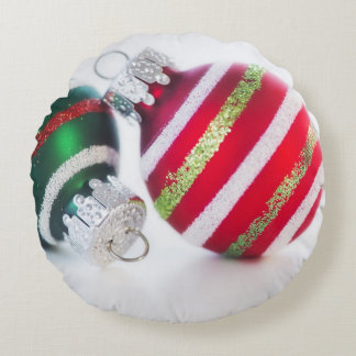 Studio shot of christmas baubles 2 round pillow