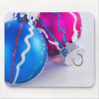 Studio shot of christmas baubles mouse pad