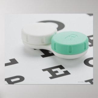 Studio shot of contact lens case on eye chart
