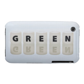 Studio shot of dice spelling out green iPhone 3 covers
