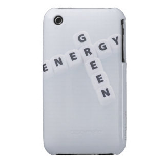 Studio shot of dice spelling out green energy iPhone 3 case