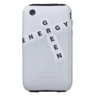 Studio shot of dice spelling out green energy iPhone 3 tough cover