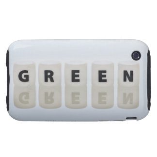 Studio shot of dice spelling out green tough iPhone 3 cases