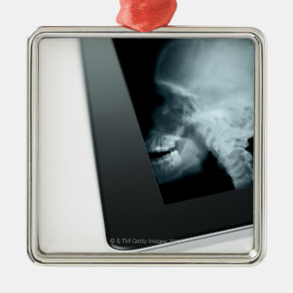 Studio shot of digital tablet with x-ray of christmas ornaments