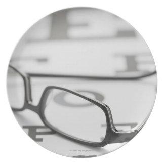 Studio shot of eyeglasses on eye chart dinner plate
