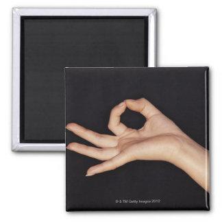 Studio shot of hand gesturing a sign magnet