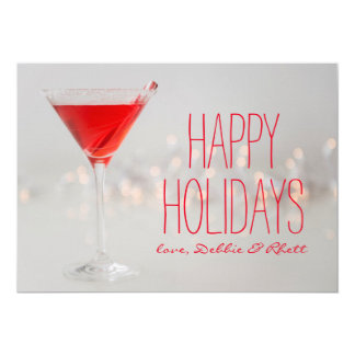Studio shot of red cocktail in martini glass card
