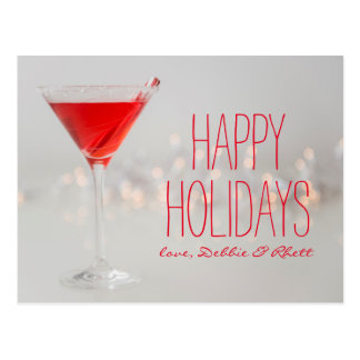 Studio shot of red cocktail in martini glass postcard