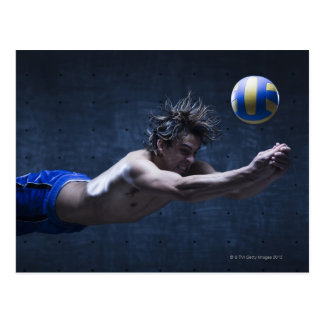 Studio shot of volleyball player playing 2 postcard