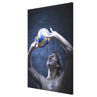 Studio shot of volleyball player playing canvas print