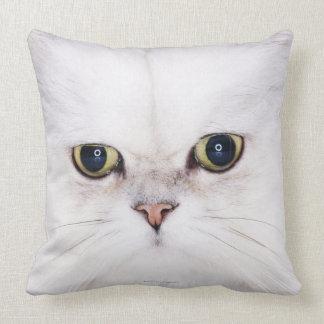 Studio shot of white Persian cat Throw Pillow