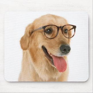 Studious Golden Retriever Puppy Dog With Glasses Mouse Pad