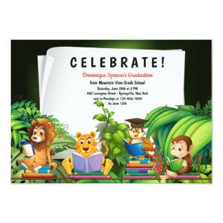 Studious Jungle Animals Graduation Invitation