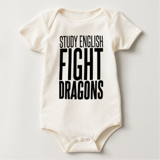 Study English, Fight Dragons Baby Bodysuit