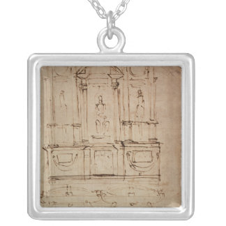 Study for a double tomb silver plated necklace