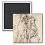 Study for an equestrian portrait 2 inch square magnet